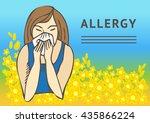 allergies. hay fever on blue... | Shutterstock .eps vector #435866224