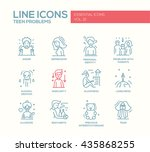 set of modern vector plain line ... | Shutterstock .eps vector #435868255
