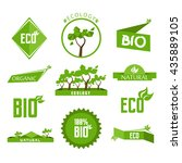 green bio eco labels and badges ...   Shutterstock .eps vector #435889105