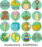 icons with children's... | Shutterstock .eps vector #435890461