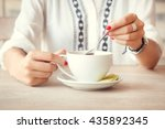 tea time. girl in cafe with cup ... | Shutterstock . vector #435892345