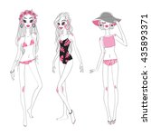 set of vector fashion girls in... | Shutterstock .eps vector #435893371