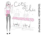 vector fashion girl | Shutterstock .eps vector #435893431