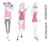 set of vector fashion girls | Shutterstock .eps vector #435893557