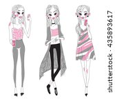 set of vector fashion girls | Shutterstock .eps vector #435893617