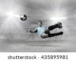 soccer player with ball in... | Shutterstock . vector #435895981