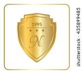 gold shield emblem icon. golden ...   Shutterstock .eps vector #435899485