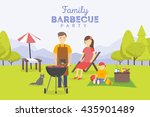 family picnic. bbq party. food... | Shutterstock .eps vector #435901489
