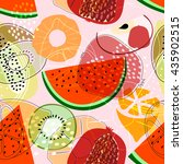 seamless pattern with fruits ... | Shutterstock .eps vector #435902515