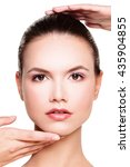Small photo of Perfect Face of a Beautiful Woman. Beauty and Aesthetic Medicine Concept