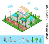 city park with bicycle path.... | Shutterstock .eps vector #435907705