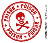 Poison Danger Red Rubber Stamp...