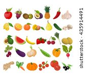 collection of fruits and... | Shutterstock .eps vector #435914491