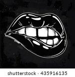 sexy fatal biting lips. pop art ... | Shutterstock .eps vector #435916135