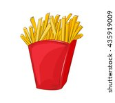 french fries in a red cardboard ...   Shutterstock .eps vector #435919009