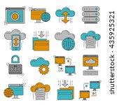 cloud storage vector icons set | Shutterstock .eps vector #435925321