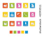 glossy square icons   office in ... | Shutterstock .eps vector #43593511