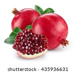 pomegranate with leaves... | Shutterstock . vector #435936631