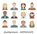 set of vector colored avatars... | Shutterstock .eps vector #435941425