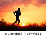 Silhouette Of Runner. Outdoor...