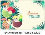 pineapple cocktail  coconut... | Shutterstock .eps vector #435951229