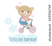 cute teddy bear riding bike.... | Shutterstock .eps vector #435956749