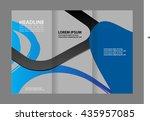 vector empty tri fold brochure... | Shutterstock .eps vector #435957085