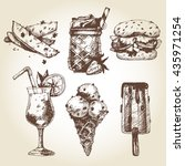 vector set of hand drawn fast... | Shutterstock .eps vector #435971254