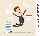 happy employee or manager is... | Shutterstock .eps vector #435972745
