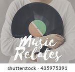 Small photo of Female Holding Vinyl Music Graphic Concept