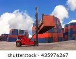 crane lifter handling container ...   Shutterstock . vector #435976267