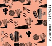 seamless pattern with cactus | Shutterstock .eps vector #435976351