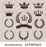 crown and wreaths icons. vector ... | Shutterstock .eps vector #435989605