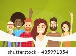 people group taking selfie... | Shutterstock .eps vector #435991354