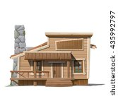 Wooden House With Stone Chimne...
