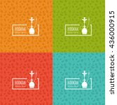 set of vector pattern with... | Shutterstock .eps vector #436000915