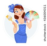 beautiful girl with paint brush ... | Shutterstock .eps vector #436004311