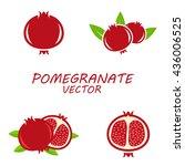 vector pomegranate icons set on ... | Shutterstock .eps vector #436006525