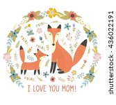 i love mom greeting card with a ... | Shutterstock .eps vector #436022191