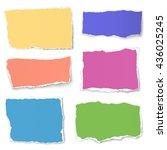 set of colour paper tears...   Shutterstock .eps vector #436025245