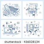 set of vector illustrations in... | Shutterstock .eps vector #436028134
