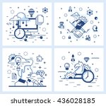 set of vector illustrations in... | Shutterstock .eps vector #436028185