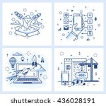 set of vector illustrations in... | Shutterstock .eps vector #436028191