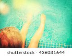 baby sitting near swimming pool. | Shutterstock . vector #436031644