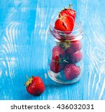 ripe fresh strawberry on a wood ... | Shutterstock . vector #436032031
