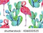 watercolor pink flamingos ... | Shutterstock . vector #436033525