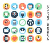 communication flat vector icons ... | Shutterstock .eps vector #436034704