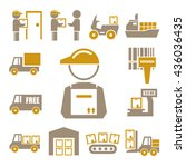 shipping  logistics icon set | Shutterstock .eps vector #436036435