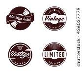 retro vinyl records emblem.... | Shutterstock .eps vector #436037779