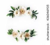 Stock photo white peonies on white background flat lay frame wreath 436046935